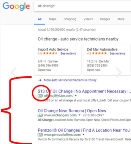 Ad on Google